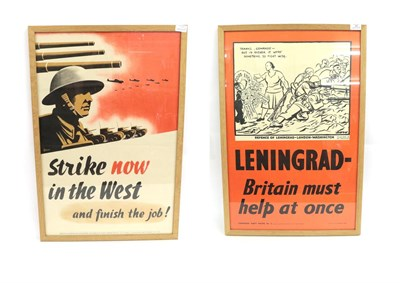 Lot 39 - Two Second World War Communist Party of Great Britain Posters - ''Strike now in the West and finish