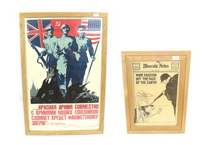 Lot 40 - A Second World War Russian Propaganda Poster, the upper section with the allies of Britain,...