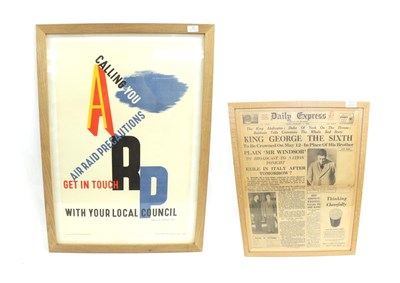 Lot 42 - A Second World War Air Raid Precaution Recruitment Poster,  ''ARP Calling You - Air Raid...