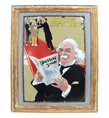 Lot 44 - An Early 20th Century Enamel Advertising Sign 'The Passing Show', depicting Lloyd George seated...