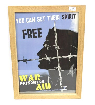 Lot 45 - A Second World War ''War Prisoners Aid'' Poster, designed by Edward McKnight Kauffer, depicting the