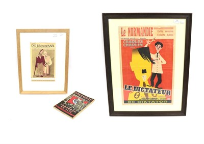 Lot 47 - A Second World War Belgian Cinema Advertising Poster for The Great Dictator (Le Dictateur),...