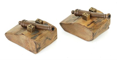 Lot 48 - A Pair of Small Bronze Desk Cannon, each with 11cm two stage barrel, mounted on an oak base