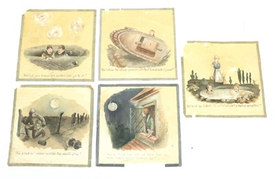 Lot 53 - A Set of Five Bruce Bairnsfather Silk Pictures, of square form, each painted with a differing...