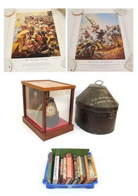 Lot 59 - An Early 20th Century Black Japanned Tin for a Busby, with brass maker's shield for Hawkes &...