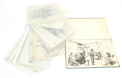 Lot 63 - Leonard Bridgman (1895-1980) - a Collection of 25 First World War Aircraft Drawings, in pencil,...