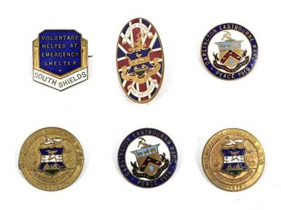 Lot 66 - Six First/Second World War Enamelled Brass Tribute Badges, comprising a Hartlepool's Hospitals...
