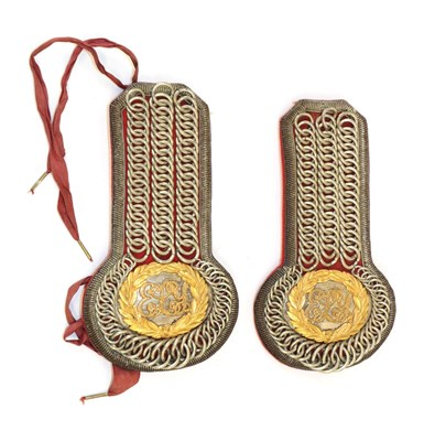 Lot 81 - A Pair of Victorian Officer's Chained Epaulettes for the East Lothian Yeomanry, set with oval white
