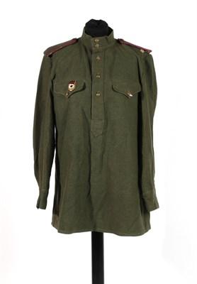 Lot 84 - A Rare Second World War Soviet Infantry Officer's Green Wool Shirt/Jacket, to a Lieutenant of...
