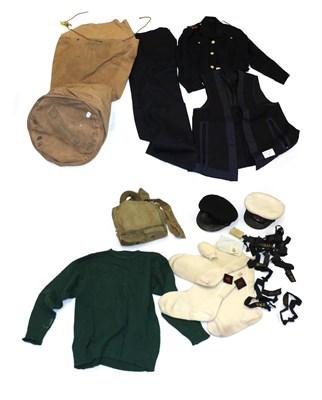 Lot 85 - A George VI Part Naval Uniform, to Sub-Lieutenant R  G Hopkinson, including two peaked caps...