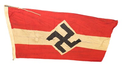 Lot 91 - A German Third Reich Hitler Youth Gruppe Flag, in cotton printed with a black mobile swastika...