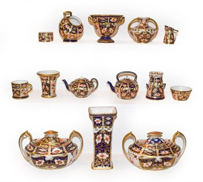 Lot 2 - Fifteen Royal Crown Derby Imari items comprising a pair of covered twin-handled vases, two...
