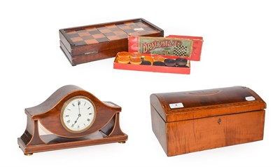 Lot 4 - A 19th century burr walnut and satinwood inlaid mahogany dome topped box, together with an...