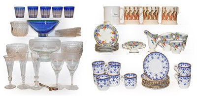 Lot 5 - Two trays of glass and ceramics, including three Emma Bridgewater mugs decorated with Hares,...