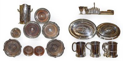 Lot 7 - Assorted silver plate including various bottle coasters, entree dish, pint tankards, flatware...