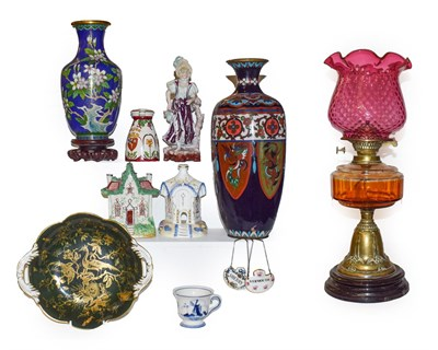 Lot 8 - Assorted decorative items including two cloisonne vases one mounted as a lamp, a Victorian...