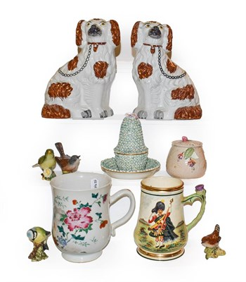 Lot 13 - A tray of ceramics including 18th century Chinese famille rose bell form tankard, pair of...