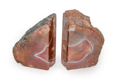 Lot 17 - A pair of Agate book ends, 18cm high