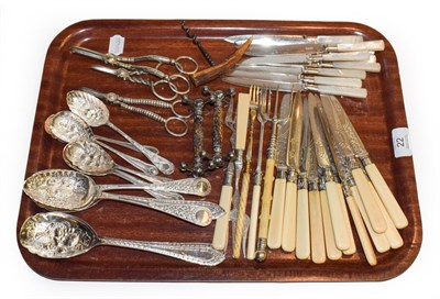 Lot 22 - A group of silver plated flatware comprising a set of nine mother-of-pearl handled fruit...