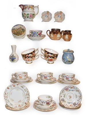 Lot 24 - Royal Worcester chinoiserie decorated tea wares comprising six side plates, seven saucers and...