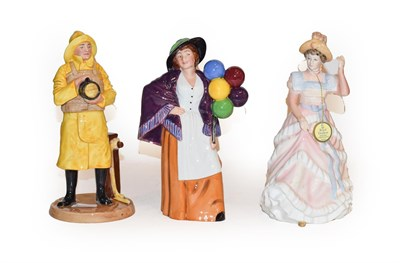 Lot 29 - Three Doulton figures, Lifeboat Man, Balloon Lady and Sharon, boxed