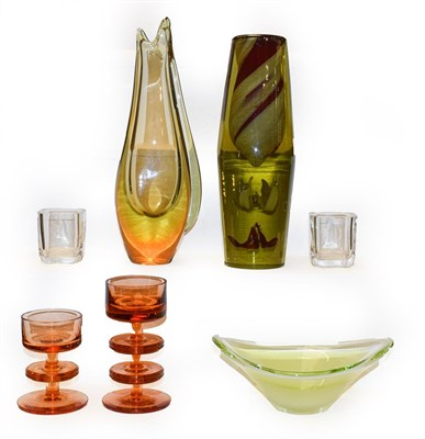 Lot 34 - A tray of modern art glass including two tall vases one in the form of a fish, 29cm high, two...