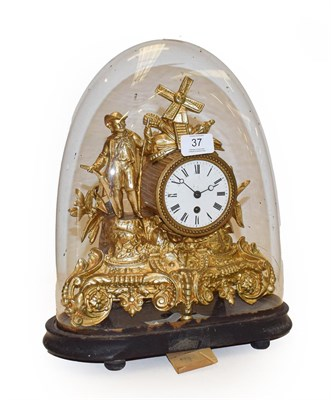 Lot 37 - A 19th century French gilt metal cased timepiece under glass dome 35cm high, including dome