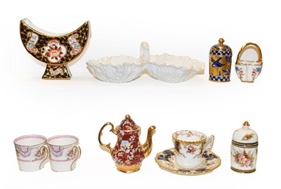 Lot 40 - A tray of Coalport porcelain etc, including a miniature lobed basket, jeweled pot and cover...