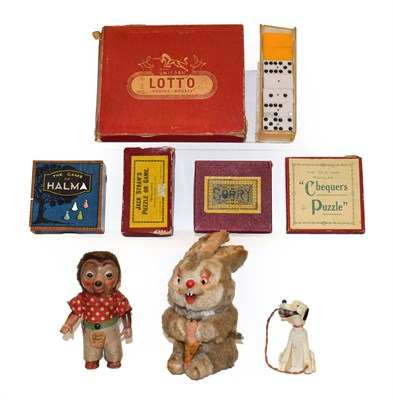 Lot 41 - A tray of mid 20th century toys and games including clockwork rabbit, clockwork German toy,...