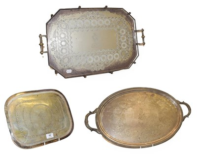 Lot 49 - A large twin handled and galleried silver plated tray bearing the Butterwick family coat of...