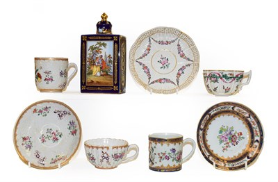 Lot 51 - A tray of Continental porcelain, mainly Samson of Paris including a tightly fluted teacup and...