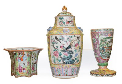 Lot 53 - A 19th century Chinese yellow ground porcelain vase (cut down), painted with lotus scrolls,...
