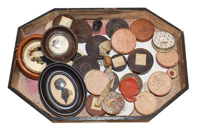 Lot 54 - A collection of 19th century wax seals, cameo and intaglio impressions, mostly boxed and...