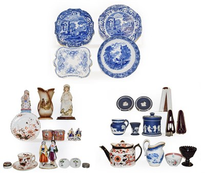 Lot 55 - Two trays of 18th century and later English pottery and porcelain including New Hall, Wedgwood...
