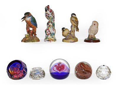 Lot 57 - A collection of glass paperweights including Caithness and Bob Banford, together with a...
