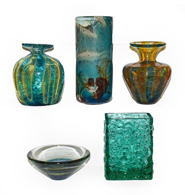 Lot 58 - A group of 20th century art glass including a cylindrical vase signed Mdina, three other pieces...
