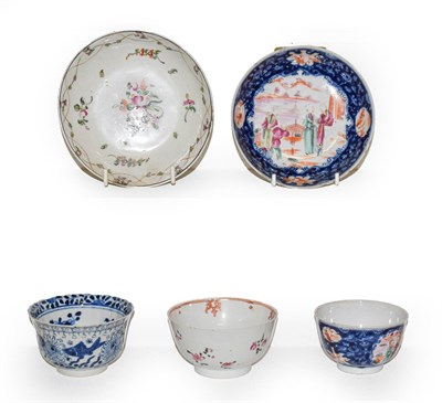 Lot 61 - A Chinese blue and white tea bowl painted with fish, Kangxi mark, an 18th century Chinese tea...