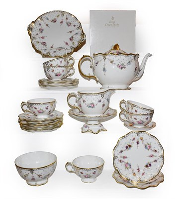 Lot 63 - A Royal Crown Derby Royal Antoinette pattern six place teaset, including a boxed small comport...