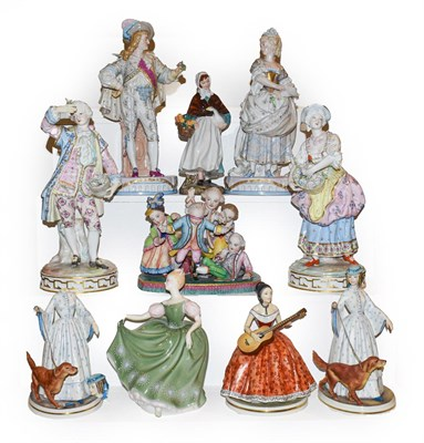 Lot 64 - Two trays of porcelain figures including a German coloured bisque group 'blind mans bluff', two...