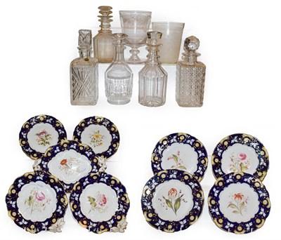 Lot 66 - A Victorian floral painted porcelain part dessert service comprising six plates, two circular...
