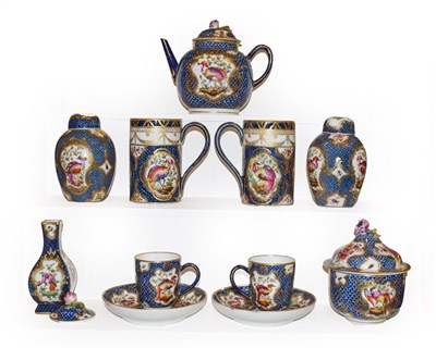 Lot 68 - A quantity of 19th century Sampson Worcester, teapot, mugs, jars and covers etc, scale blue...