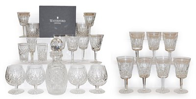 Lot 69 - Two trays of Waterford crystal including a decanter, four brandy glasses, pair of boxed whisky...