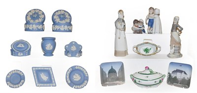 Lot 70 - Two trays of ceramics including Royal Copenhagen Bing & Grondahl figures, Lladro figures,...