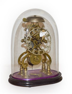 Lot 76 - A 19th century brass skeleton clock with fusee movement, striking on a bell and under glass...