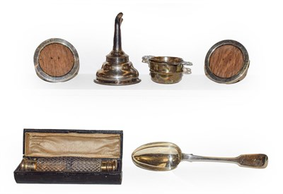 Lot 77 - A tray of silver items including a silver wine funnel possibly by William Schofield, London 1822, a