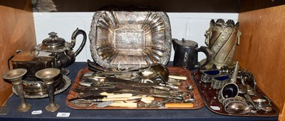 Lot 80 - Various silver plated wares including bottle stand, teapot, condiments, flatware etc (one shelf)