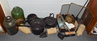 Lot 82 - Two 19th century tea tins, kitchenalia, including pans, stoneware, brass fire guard, fire...