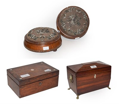 Lot 83 - A Regency mahogany sarcophagus for tea caddy, mother of pearl inlaid rosewood box (a.f.),...