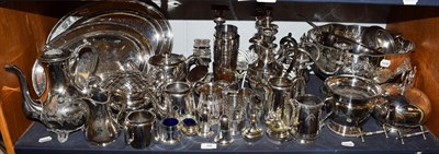 Lot 88 - A quantity of assorted silver plated and white metal items including, twin handled punch bowl,...