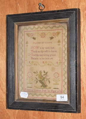 Lot 94 - An early 19th century needlework sampler by Rebecca Cotton dated Sept. 1831, decorated with a...